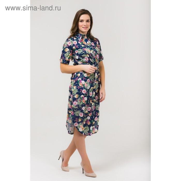 Платье женское, размер 52, рост 168, цвет темно-синий (арт. 17252 С+)