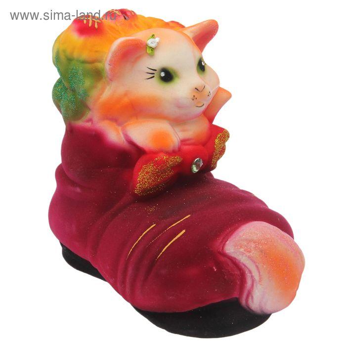 """Копилка """"рыжая котик в башмаке"""" флок"""