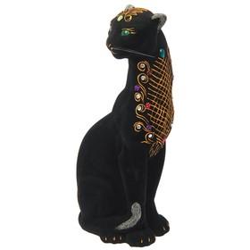 """Копилка """"Пантера"""" флок, чёрная, орнамент микс"""