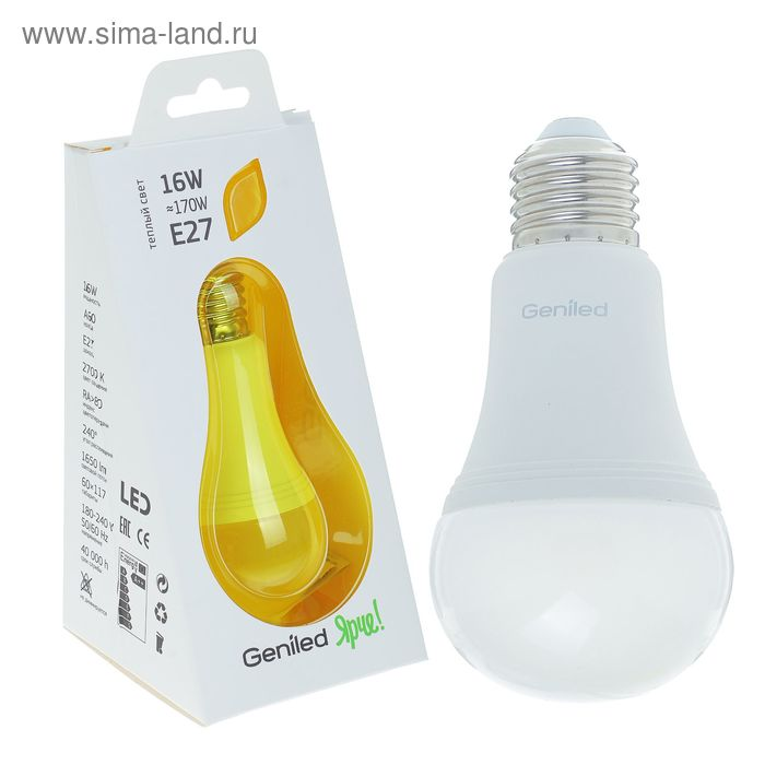 Лампа светодиодная Geniled, E27, А60, 16 Вт, 2700 К, матовая, теплый белый