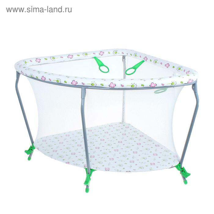 Манеж детский «Фея Угловой Экстра», цвет зелёный
