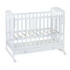 Детская кроватка «Фея 325» на колёсах или качалке, с ящиком, цвет белый