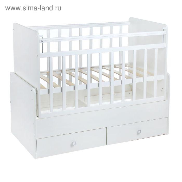 Детская кроватка «Фея 720» на маятнике, с 2 ящиками, цвет белый