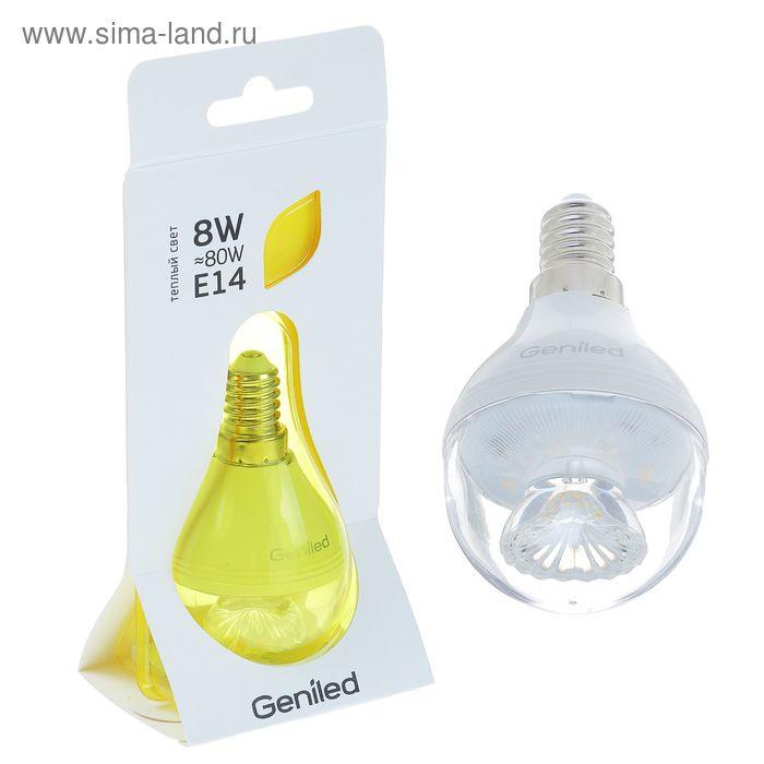 Лампа светодиодная Geniled, E14, G45, 8 Вт, 2700 К, линза теплый белый