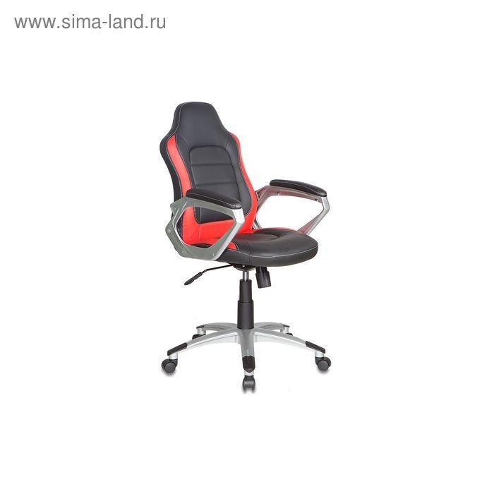 Кресло руководителя CH-825S/Black+Rd черный с красными вставками, искусственная кожа