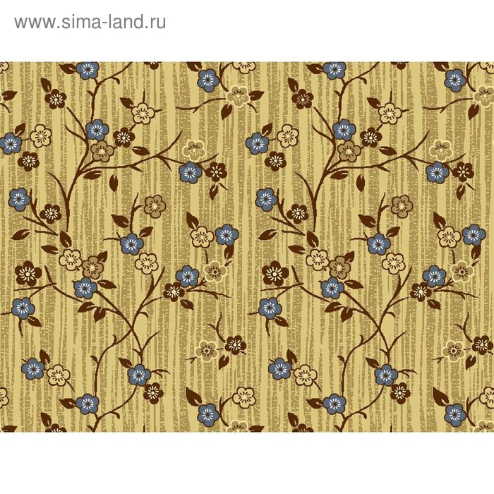 Ковёр Сакура, размер 200х450 см, цвет бежевый/голубой, войлок 120 г/м2