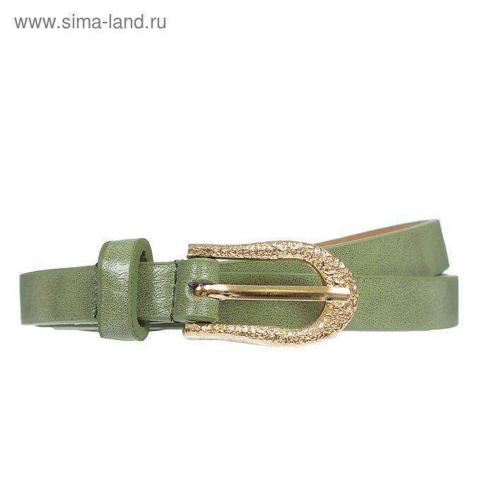"""Ремень женский """"Кружево"""", пряжка-хомут под золото, ширина - 1,5см, зелёный"""
