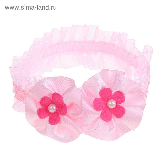 """Повязка для волос """"Крохотулька"""" 14,5*4 см розовая цветы ромашки"""