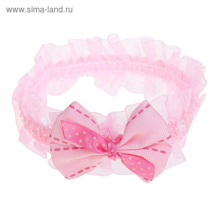 "Повязка для волос ""Крохотулька"" 14,5*4 см розовая бантик"