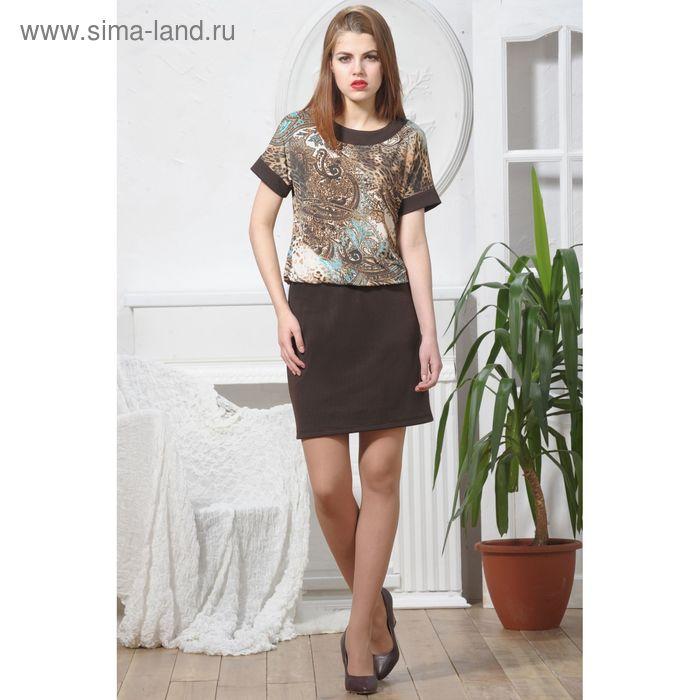 Платье 4904 С+, размер 54, рост 164 см, цвет шоколад/бежевый