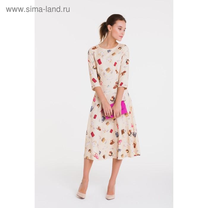 Платье, размер 52, рост 164 см, цвет кремовый/бежевый (арт. 4913 С+)