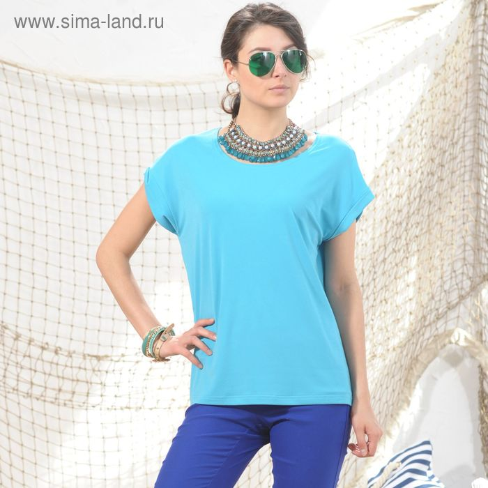 Блуза 4974а, размер 48, рост 164 см, цвет голубой