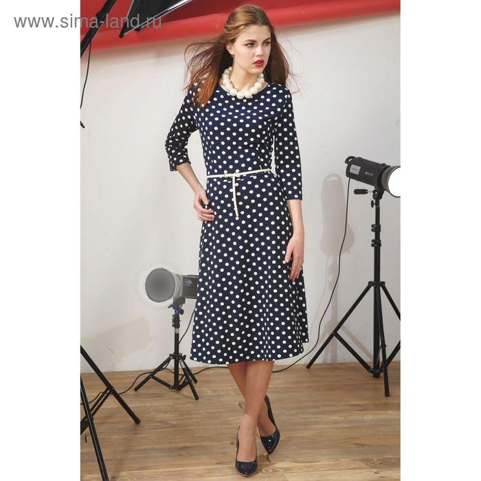 Платье 4917, размер 46, рост 164 см, цвет т.синий/белый