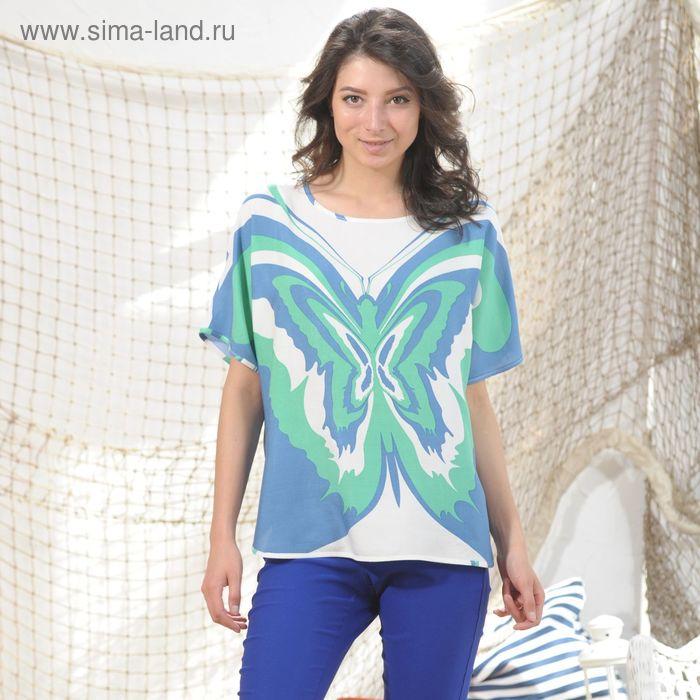 Блуза 4988а, размер 48, рост 164 см, цвет зеленый/синий/белый
