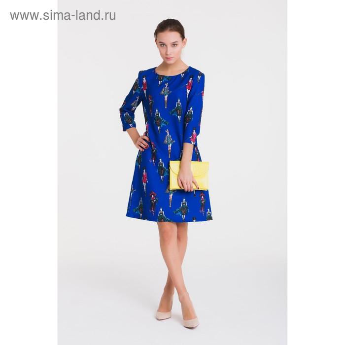Платье, размер 50, рост 164 см, цвет синий (арт. 4907 С+)