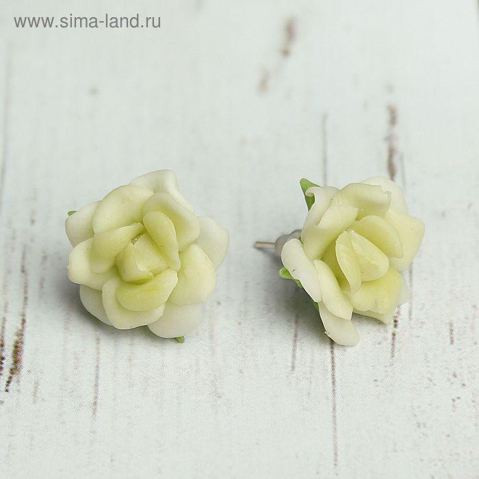 """Серьги из полимерной глины """"Цветы"""", розы, цвет салатово-белый"""