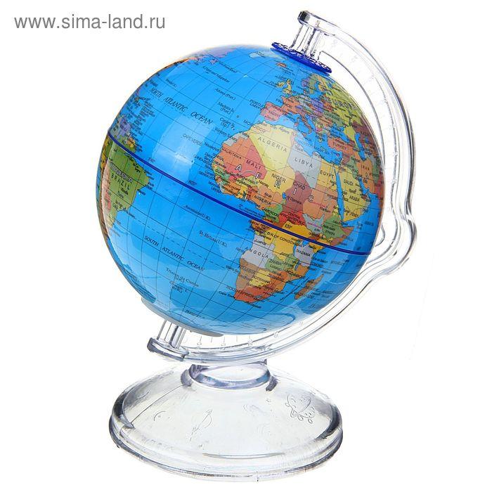 """Глобус сувенирный """"Копилка"""", англ. язык, покрытие пвх, D=10 см, 12х10х16 см голубой"""