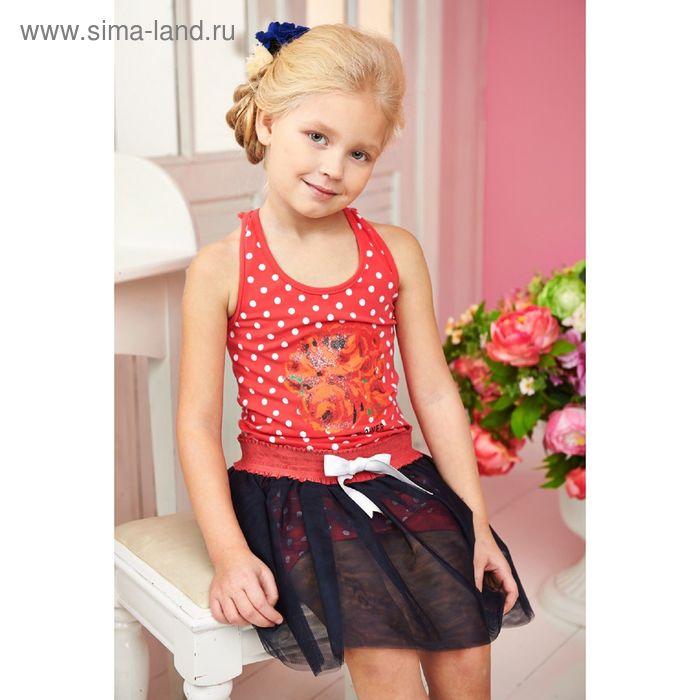 """Костюм (туника+юбка) для девочки, рост 122 см, цвет розовый """"Горох"""" (арт. 87468м)"""