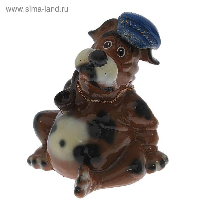 """Копилка """"Собака в кепке с трубкой"""" глянец, коричневая"""