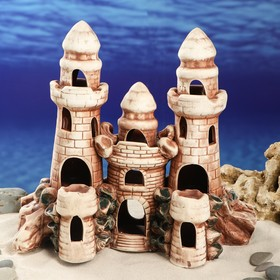 "Декорации для аквариума ""Замок с двумя башнями"" микс"