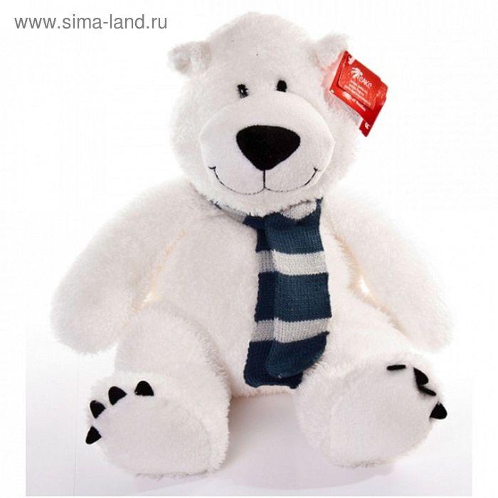 """Мягкая игрушка """"Медведь с шарфом"""", цвет белый"""