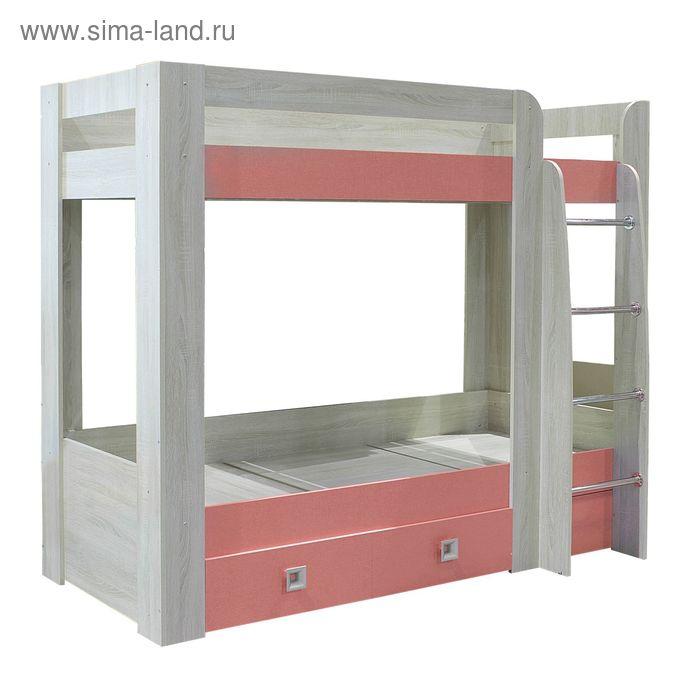 Кровать 2-х ярусная с двумя ящиками СИТИ / Дуб сонома / Коралл