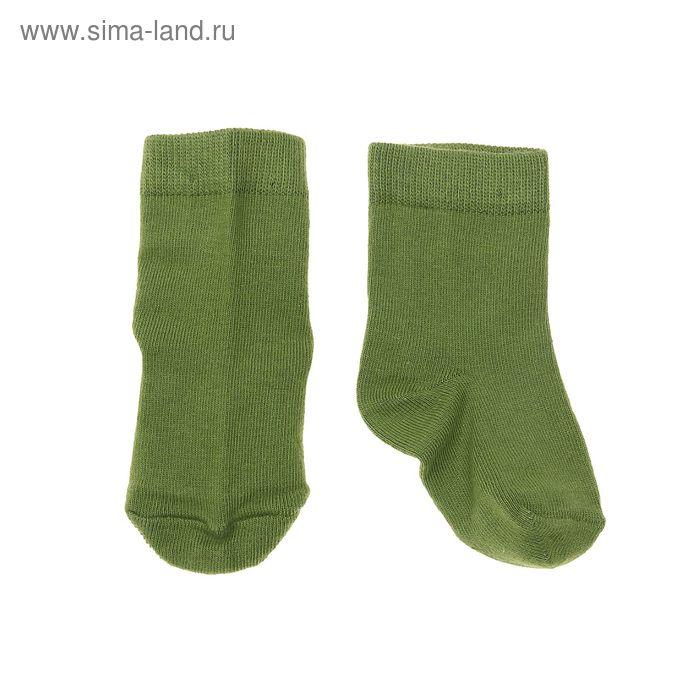 Носки однотонные, размер 10-12, цвет зелёный 004/6