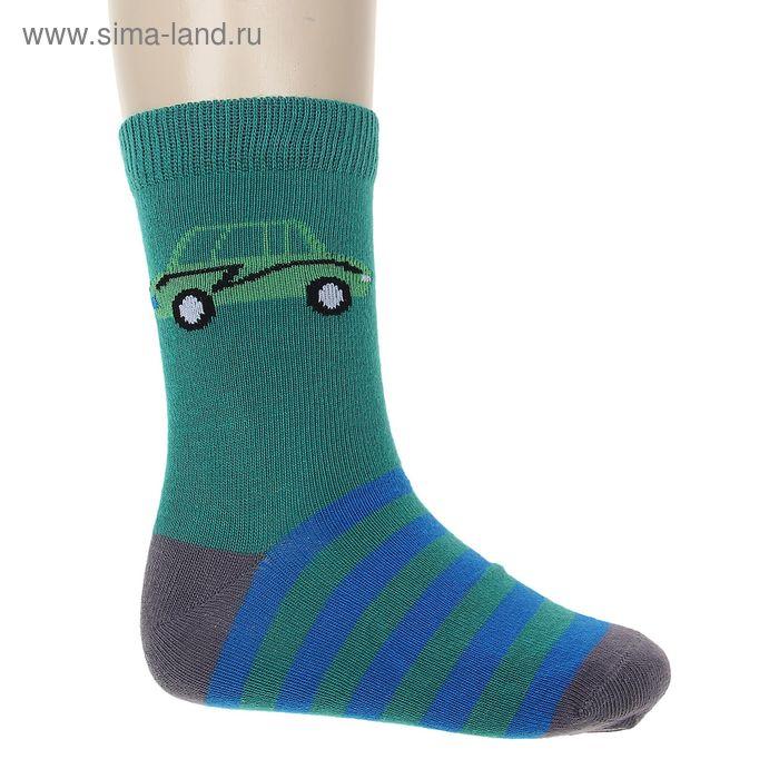"""Носки """"Машинка"""", размер 14-16, цвет зелёный 002/5"""