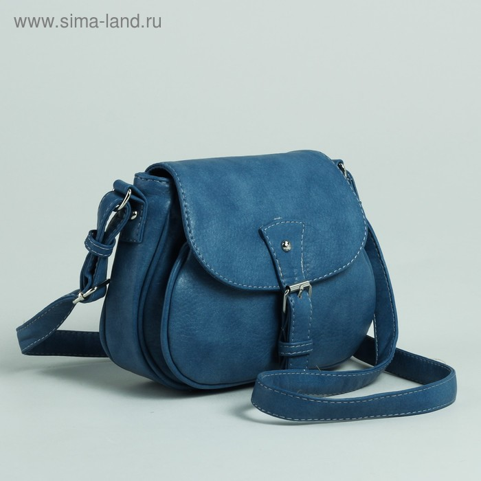 Сумка женская на молнии, 1 отдел, 1 наружный карман, регулируемый ремень, синяя