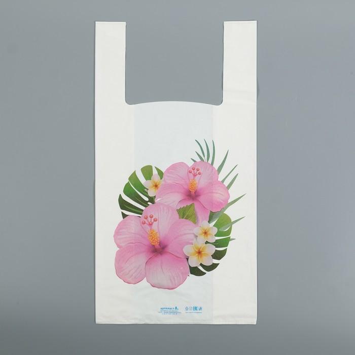 """Пакет """"Цветы"""", полиэтиленовый, майка, 55х28 см, 35 мкм"""