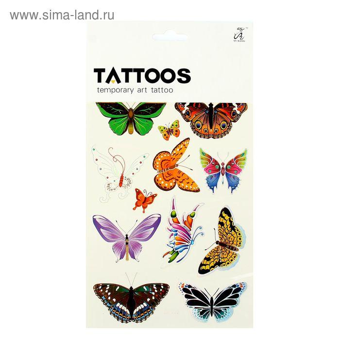 """Татуировка на тело """"Бабочки"""" МИКС 15х26,5 см"""