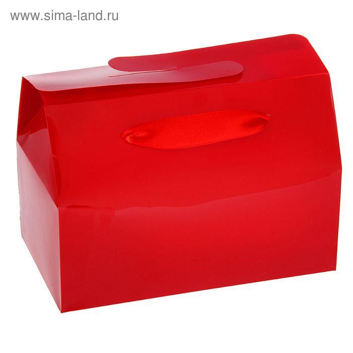 Коробка сборная пластик 15 х 11,5 х 6 см, цвет красный