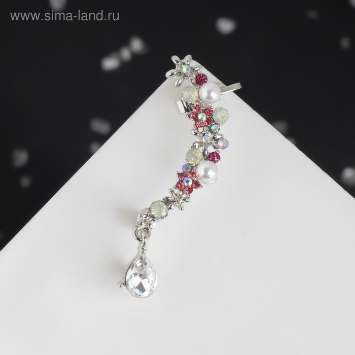"""Серьга """"Каффа"""" цветы с каплей, цвет бело-розовый в серебре"""