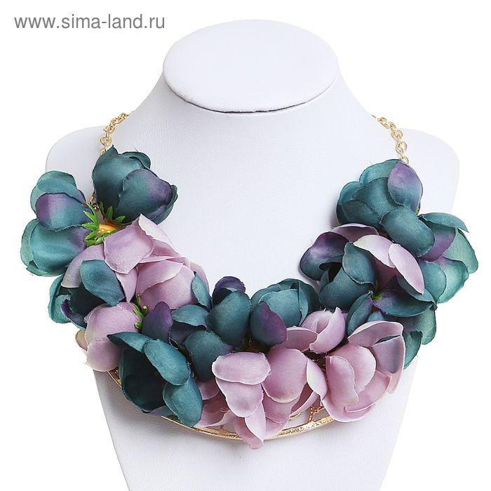 """Колье """"Цветочный шик"""", орхидеи, цвет сиренево-морской в золоте"""
