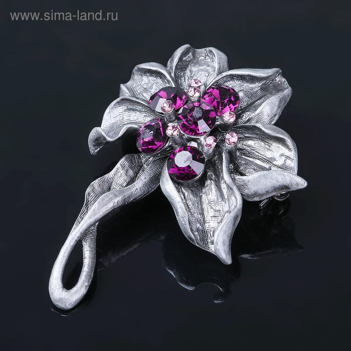"""Брошь """"Цветок"""" орхидея, цвет фиолетовый в черненом серебре"""