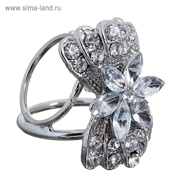 """Кольцо для платка """"Цветок"""", бант, цвет белый в серебре"""