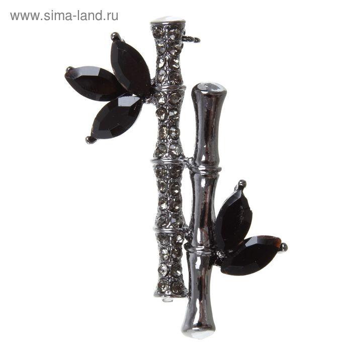 """Брошь """"Бамбук"""", цвет черно-серый"""