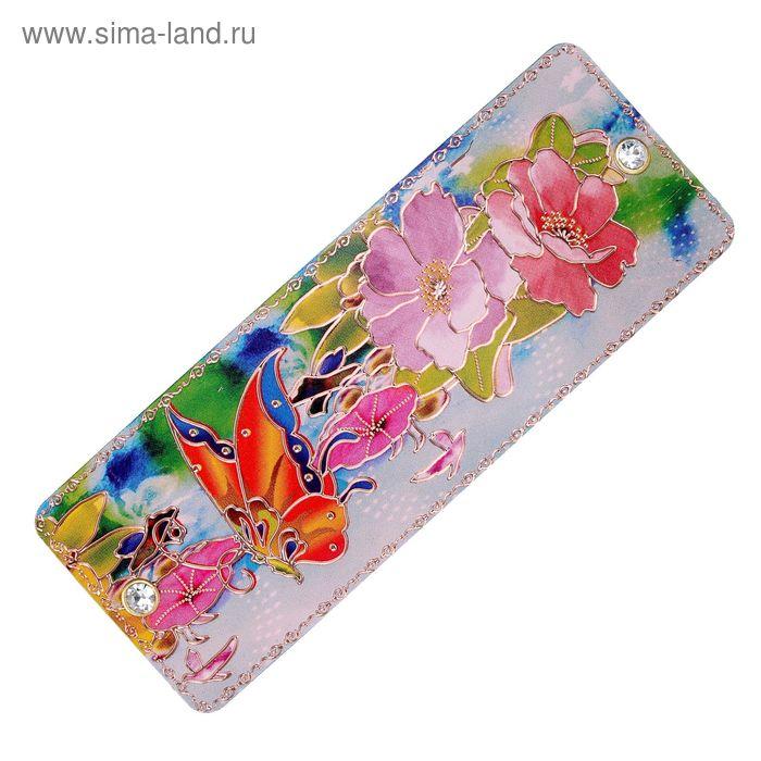 """Заколка-автомат """"Цветочный шедевр"""" бабочка в лилиях"""