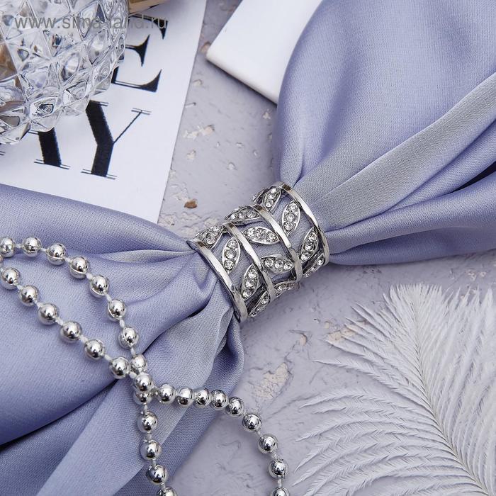 """Муфта для платка """"Ажур"""", листья, цвет белый в серебре"""