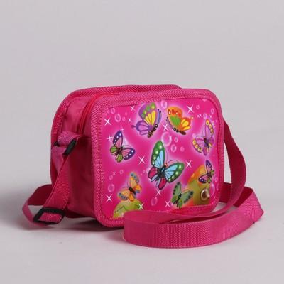 """Сумка детская на молнии """"Бабочки"""", 1 отдел, регулируемый ремень, цвет розовый"""
