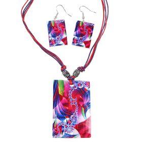 """Гарнитур 2 предмета: серьги, кулон """"Ракушка"""", прямоугольник абстракция, цветной, 45см"""