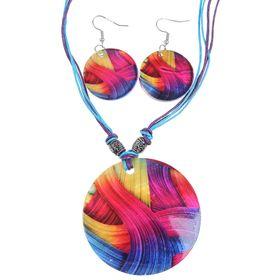 """Гарнитур 2 предмета: серьги, кулон """"Ракушка"""", круг, волны, цветной, 45см"""