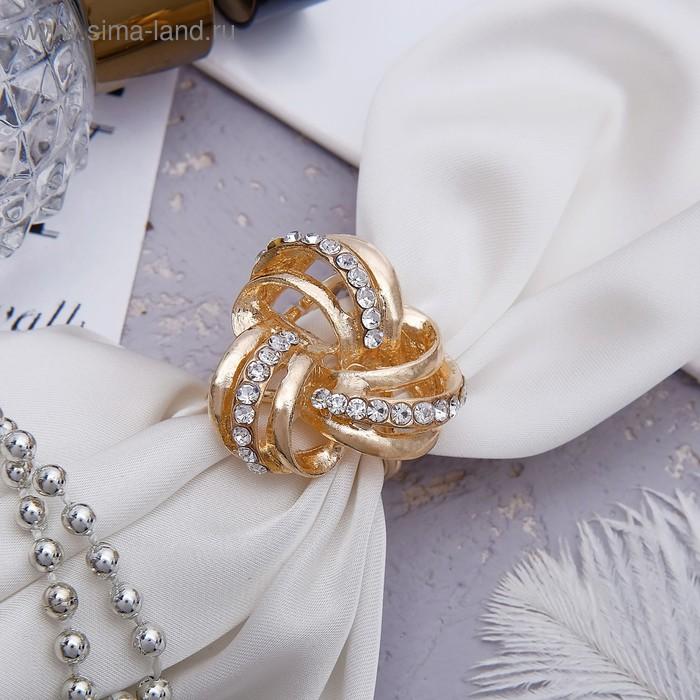 """Кольцо для платка """"Трио"""", цвет белый в золоте"""