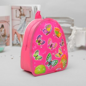 Рюкзак детский на молнии 'Бабочки', 1 отдел, цвет малиновый Ош