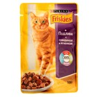 Влажный корм FRISKIES для кошек, говядина/ягненок в подливе, пауч, 100 г