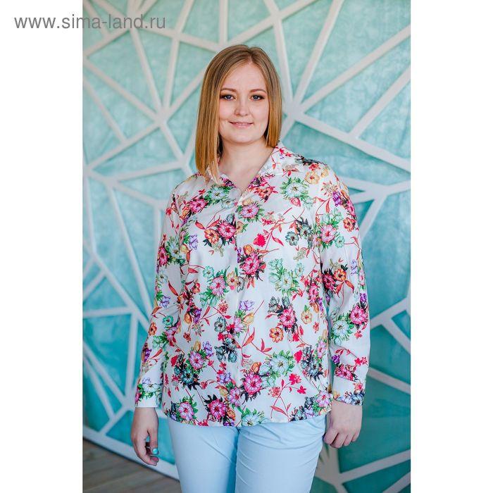 Блузка женская Vera Nicco, размер 56 (4XL), рост 168 см, цвет молочный/красный (арт. 1562 С+)