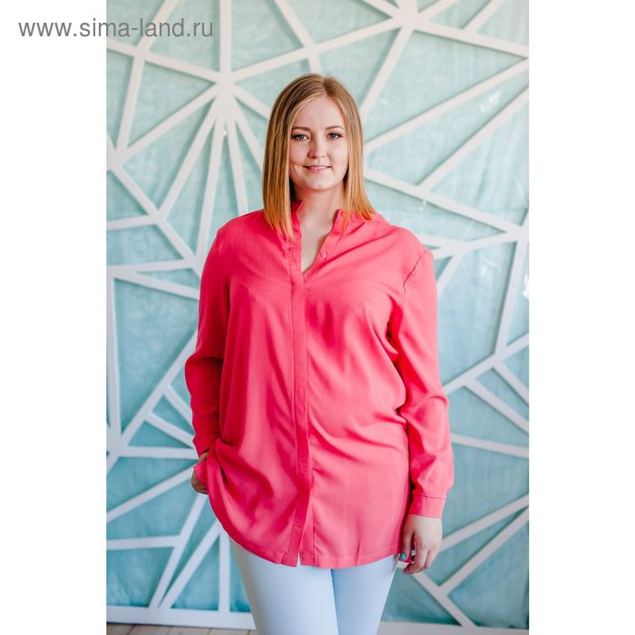 Блузка женская Vera Nicco, размер 50 (XL), рост 168 см, цвет кораллово-красный (арт. 1552 С+)