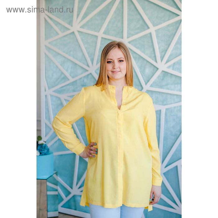 Блузка женская Vera Nicco, размер 52 (2XL), рост 168 см, цвет жёлтый (арт. 1552 С+)