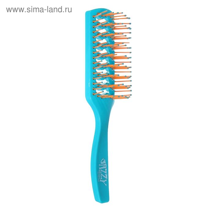Расчёска массажная продувная прямоугольная, цвет голубо-оранжевый