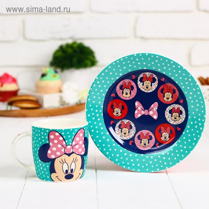 """Набор посуды """"Самой милой и красивой"""" Минни Маус, кружка 250 мл, тарелка 17 см"""